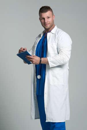 portrait studio: Caucasian mid adult male doctor Stock Photo