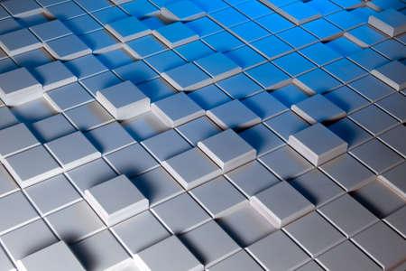 asamblea: White and blue background of regularly shaped wooden blocks Foto de archivo