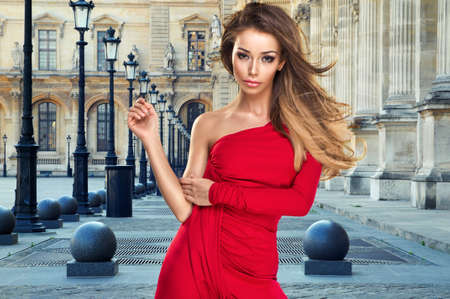 flyaway: Sexy young beauty woman in red dress