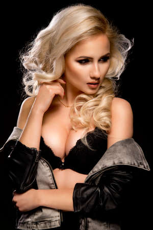 sexy woman lingerie: Sexy blond woman in jeans jacket