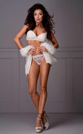 ropa interior femenina: Morena sensual ropa interior del desgaste de mujer y de la piel Foto de archivo