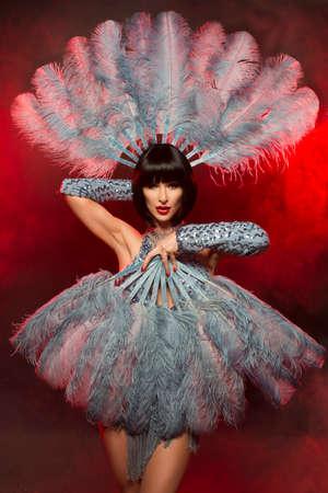 pluma: Mujer de moda con rostro del arte - burlesque Foto de archivo