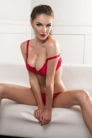 girls naked: Чувственный красивая женщина брюнетка позирует в сексуальном белье, глядя на камеру.
