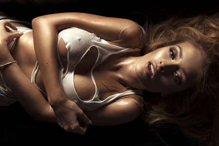 sensual: Beauty portrait of sensual blonde woman. Stock Photo