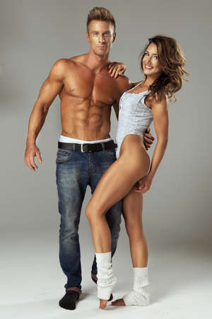 woman muscle: Beautiful athletic couple.