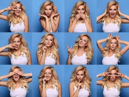 poses de modelos: Collage de la hermosa mujer rubia cerca retrato con diferente expresión. A partir de triste a feliz