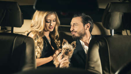 車の中でエレガントなカップル。