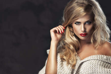 strict woman with red lips photo