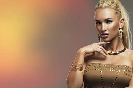 Portrait of beautiful sensual blonde woman photo