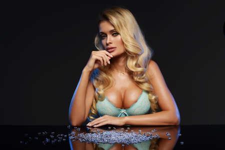 magic eye: Beauty blonde woman with diamond