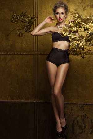 sexy glamour: Beauty woman over gold background