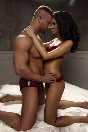 seminude: Passion portrait of couple in love Stock Photo