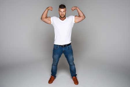 male body: Muscular man wear jeans Stock Photo