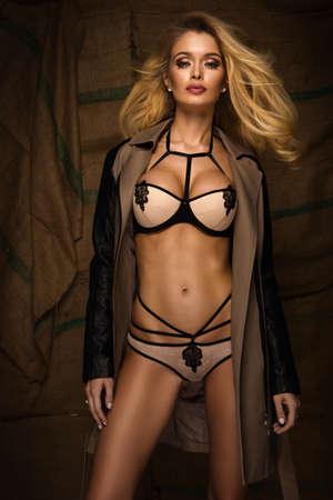 ladies bust: Sexy blonde woman in jacket