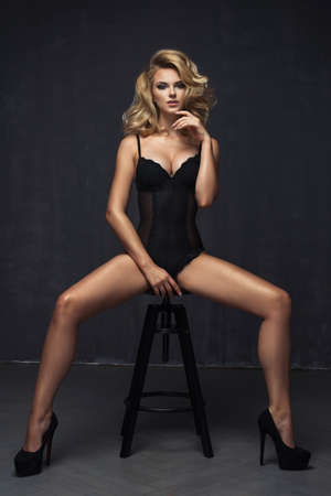 sexy black woman: Young sexy woman in black lingerie