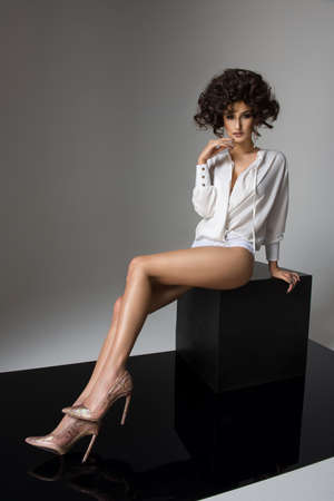 long legs: Sexy brunette woman with long legs