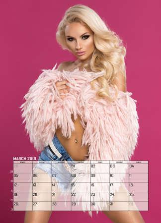 Beauty blonde woman , March Calendar Stock Photo
