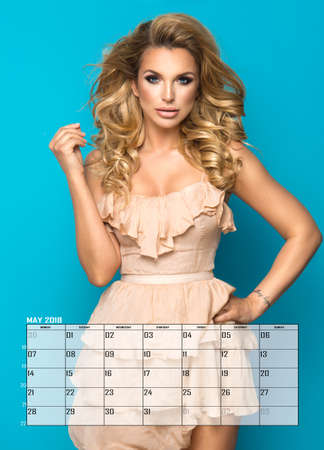 Beauty blonde woman , May Calendar