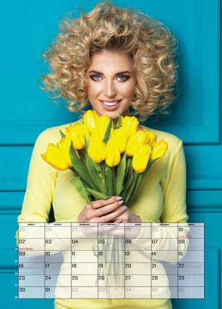 Beauty blonde woman , April  Calendar