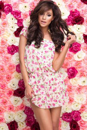 Beauty happy model girl with flowers Standard-Bild - 109613074