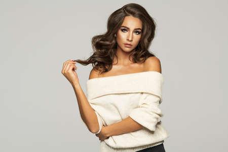 Portrait of beauty brunette woman