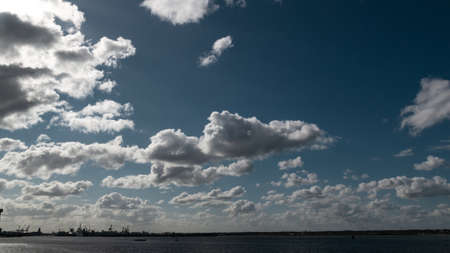 Dublin Port with large industrial cranes, sunny day, panoramic view Banco de Imagens