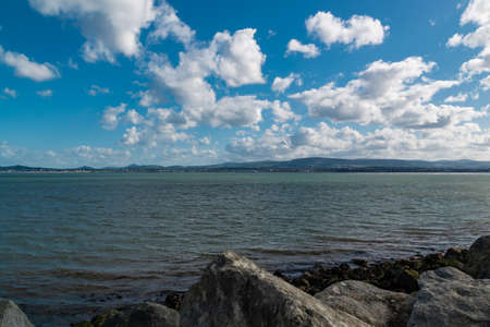 View from Poolberg beach at low tide, Dublin, Ireland. Banco de Imagens