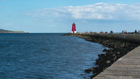 Poolberg lighthouse in Ireland, Dublin bay, Dublin, Ireland.