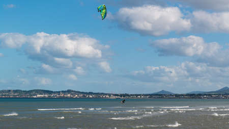 Kitesurfing at Irishtown beach in Dublin, Ireland