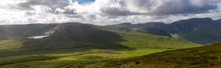 Panoramic view on Derryveagh Mountains in Donegal, County, Ireland. Wild Atlantic Way.