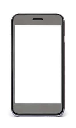 Telefono nero con schermo vuoto bianco isolato su bianco.