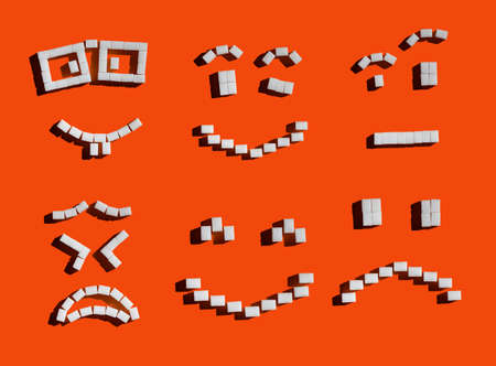 Set of emoji face icons made by sugar cubes with hard shadows.