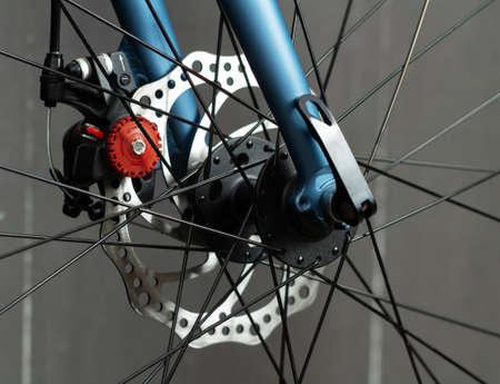 Bicycle disc brakes closeup. Break system on road bike.