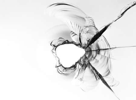 Texture of broken glass, macro photo on white background. Stock Photo