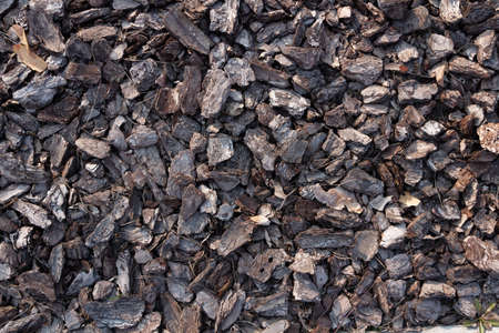 Small pieces of tree bark. Crushed tree bark texture background. Brown tree bark for decoration or for playground. Close-up. Ecology and bioenergy concept.