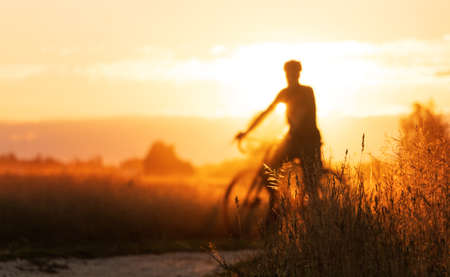 Cyclist silhouette on a gravel bike stands in a field on a beautiful sunset background.