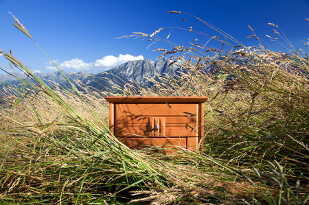 nightstand: Nightstand in mountains- concept of good sleep Stock Photo