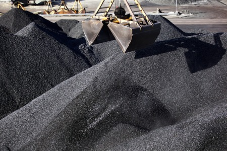 mining: Heaps of coal Stock Photo