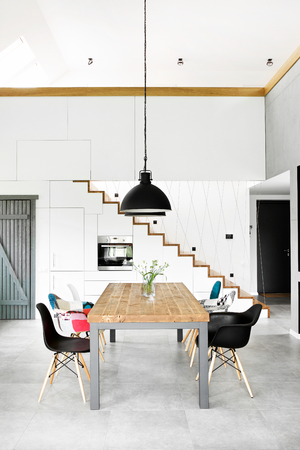 modern dining room with dining table