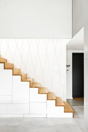 wooden stairs: Wooden stairs in modern house