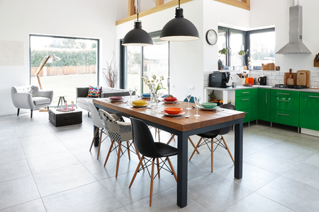Modern dining room with dining table. Stockfoto