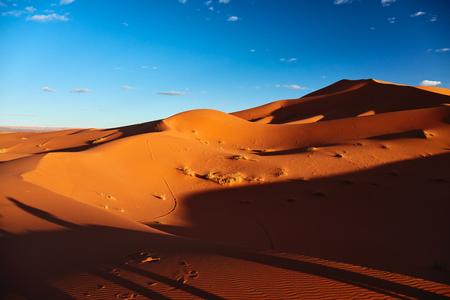 sahara desert: Sand dunes in the Sahara Desert, Merzouga, Morocco Stock Photo