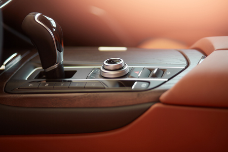 Gear stick of luxury car Stockfoto