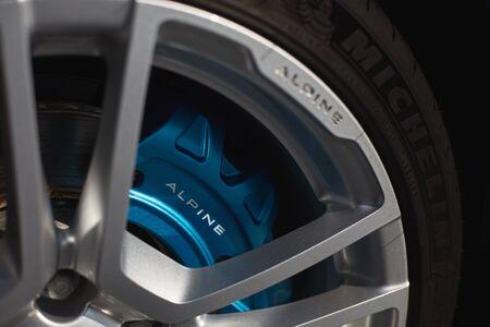 Katowice, Poland-03.23.2019: Alpine A110 aluminum wheel with MIchelin tire
