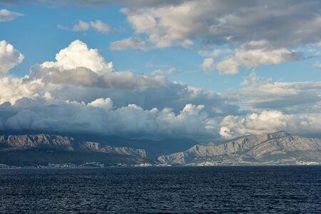 A cloudy day in Croatia, around Split. View from the ferry on the Split - Supetar line