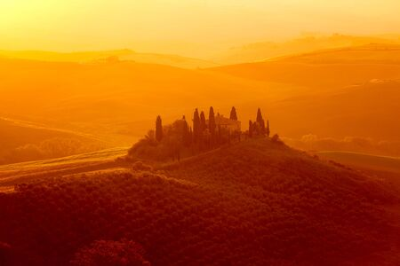 Tuscan hills at sunrise, San Quirico d´Orcia, Tuscany, Italy
