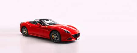 Warsaw /Poland - 04.13.2019: Red Ferrari California T captured  in studio. Cabriolet with V8 BiTurbo engine, 3.9L, 560 hp