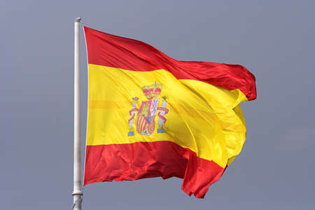 flagpoles: spanish flag Stock Photo