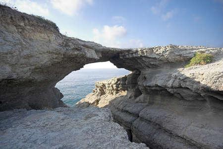 santander: rock bridge , puente del diablo, Santander, Spain