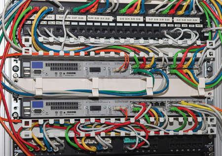 Network cables plugged into an ethernet switch in a rack